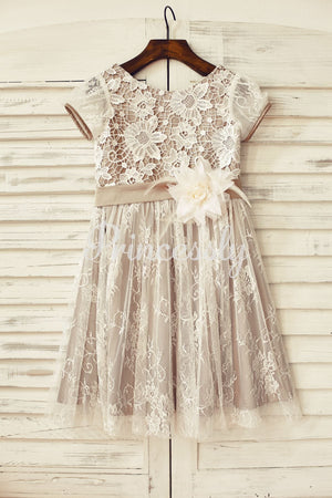 Brown Satin Ivory Lace Short Sleeve Flower Girl Dress
