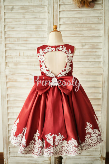 Burgundy Satin Ivory Lace Keyhole Back Wedding Flower Girl