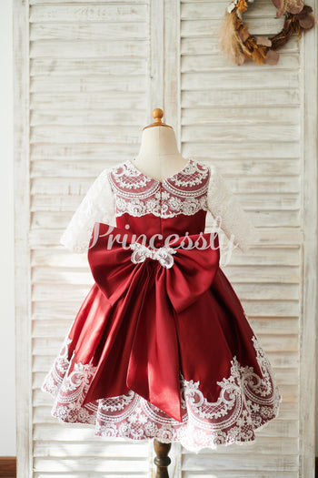 Burgundy Satin Ivory Lace Long Sleeves Wedding Flower Girl