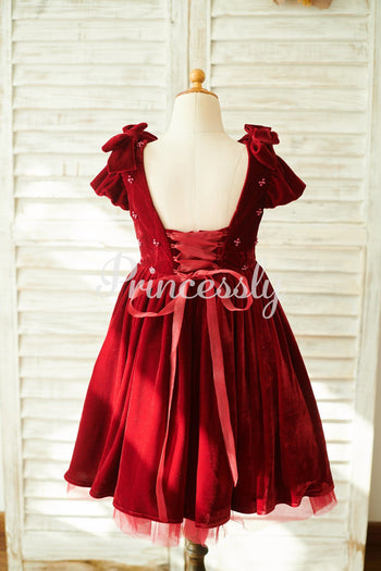 Burgundy Velvet Corset Back Cap Sleeves Wedding Flower Girl