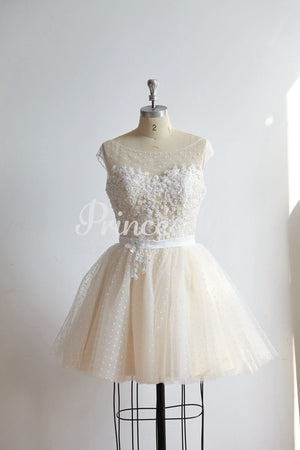 Cap Sleeves Beaded Lace Polka Dot Tulle Short Prom Party
