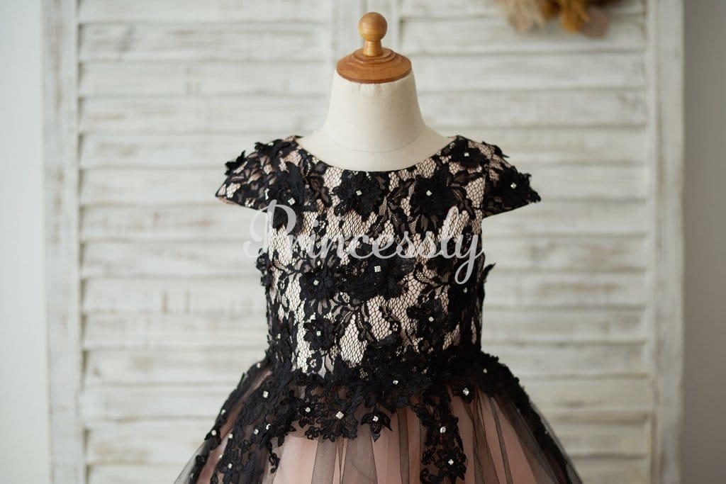 Cap Sleeves Black Lace Tulle Mauve Lining Wedding Flower