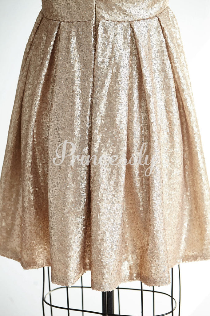 Cap Sleeves Champagne Gold Sequin Short Prom Party Cocktail