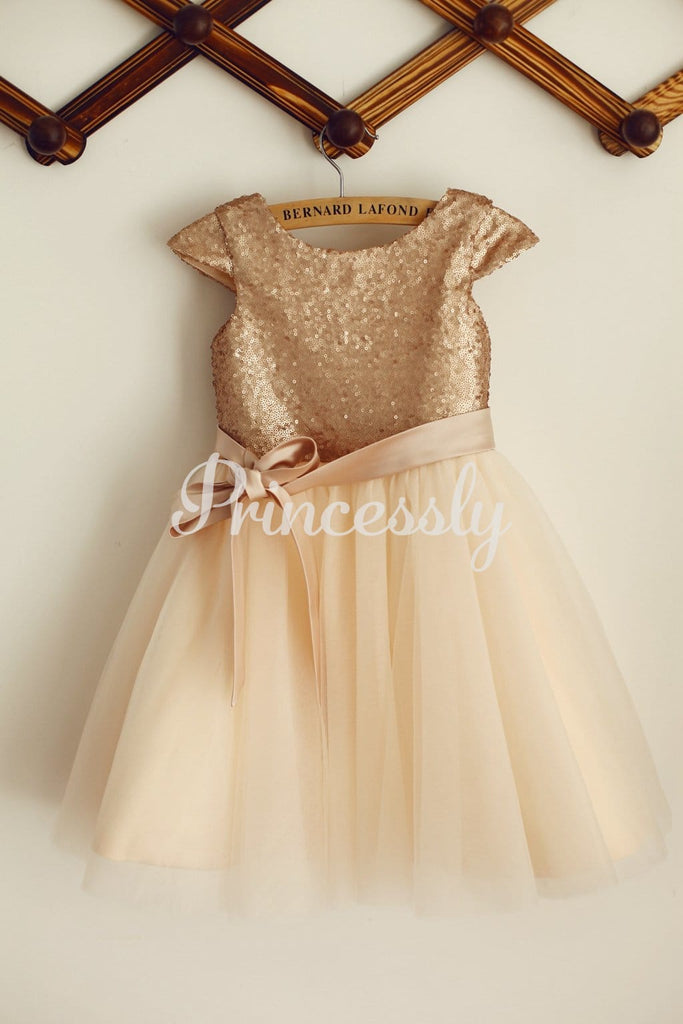 Cap Sleeves Champagne Sequin Tulle Wedding Flower Girl Dress