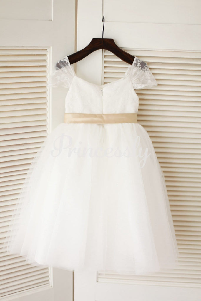 Cap Sleeves Ivory Lace Tulle Flower Girl Dress with