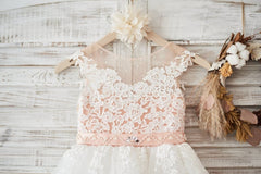 Cap Sleeves Ivory Lace Tulle Hi Low Wedding Party Flower