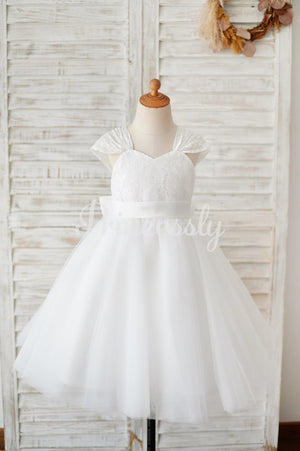 Cap Sleeves Ivory Lace Tulle Wedding Flower Girl Dress with