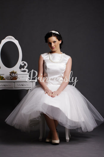Cap Sleeves Jewel Neck Layered Pleats Ball Gown Tea Length
