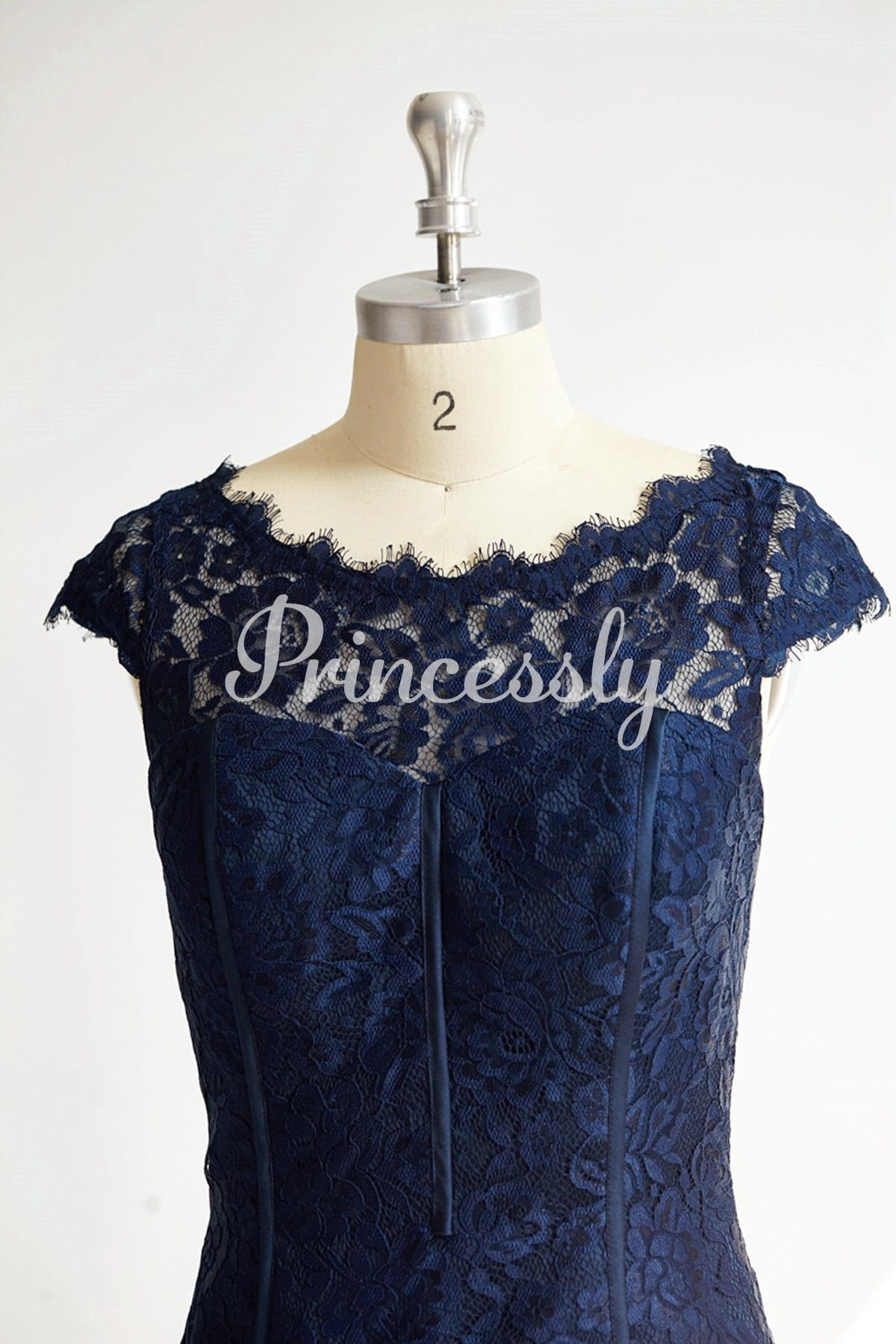 Cap Sleeves Keyhole Back Navy Blue Lace Short Knee Wedding