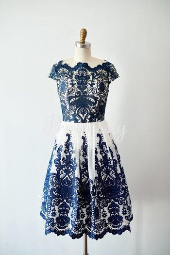 Cap Sleeves Navy Blue Lace chiffon Wedding Bridesmaid Dress