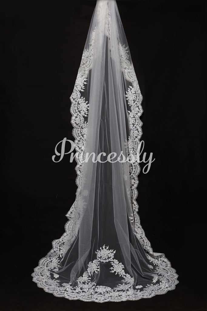 Cathedral Long Floor Length French Lace Trim Appliques