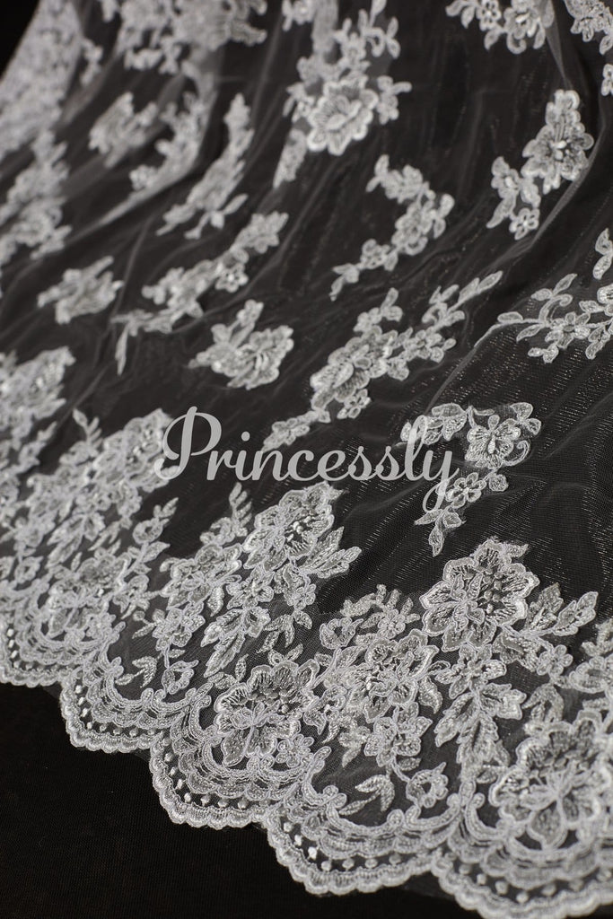 Cathedral Long Length French Lace Appliques Wedding Veil