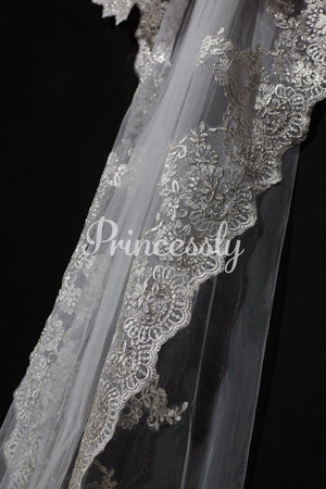 Cathedral Long Length Gold Metallic French Lace Wedding Veil
