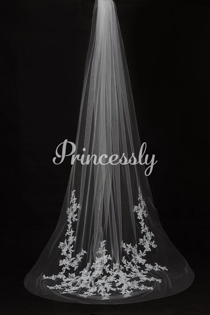 Cathedral Long Length Lace Appliques Wedding Veil