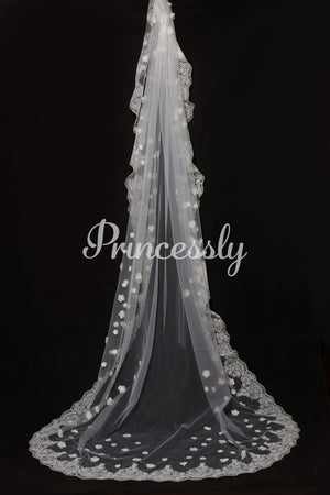 Cathedral Long Length Lace Trim 3D Flower Wedding Veil