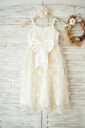 Champagne 3D lace Straps Wedding Flower Girl Dress with Bow
