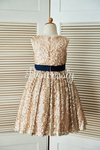Champagne Gold Sequin Wedding Flower Girl Dress with Navy