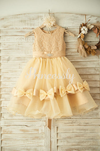 Champagne Lace Organza Wedding Flower Girl Dress with Belt /