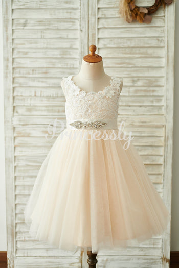 Champagne Lace Tulle Deep V Back Wedding Party Flower Girl