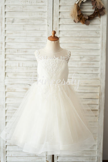 Champagne Lace Tulle Keyhole Back Wedding Flower Girl Dress