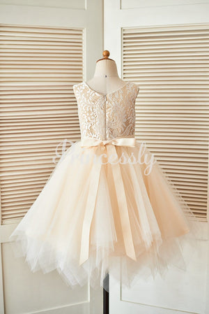 Champagne Lace Tulle Wedding Flower Girl Dress with Uneven