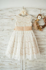 Champagne Satin Ivory Lace Cap Sleeves Wedding Flower Girl