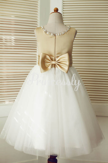 Champagne Satin Ivory Tulle Wedding Flower Girl Dress with