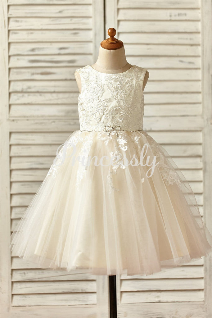 Champagne Satin Tulle Flower Girl Dress with Beaded Sash