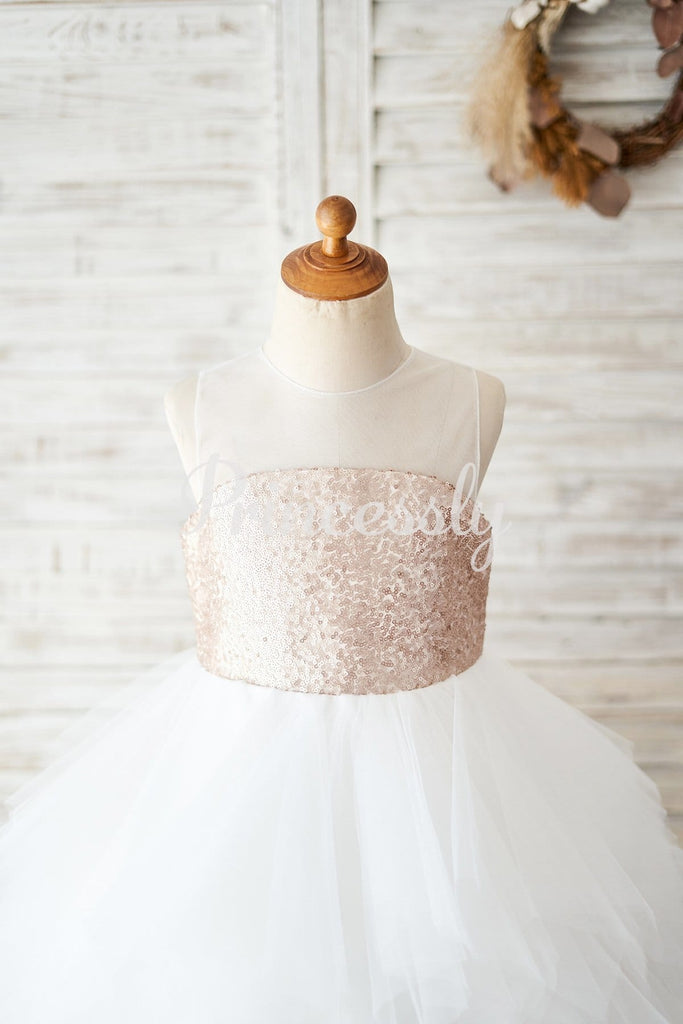Champagne Sequin Ivory Ruffle Tulle Wedding Flower Girl