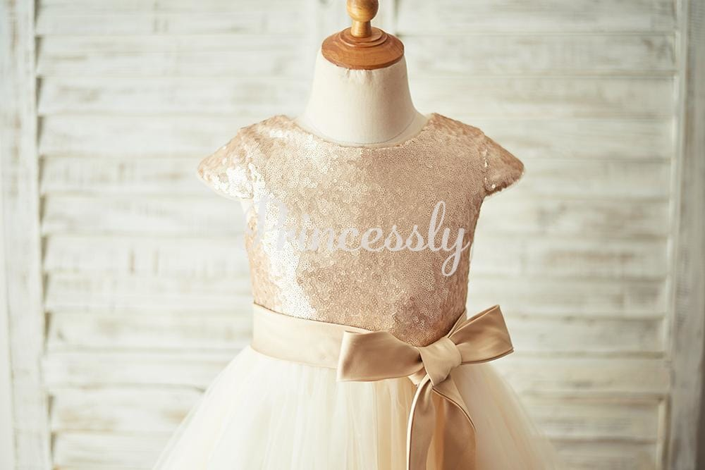 Champagne Sequin Tulle Flower Girl Dress with Cap Sleeves