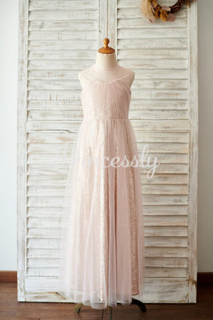 Champagne Sequin Tulle Sheer Neck Wedding Junior Bridesmaid