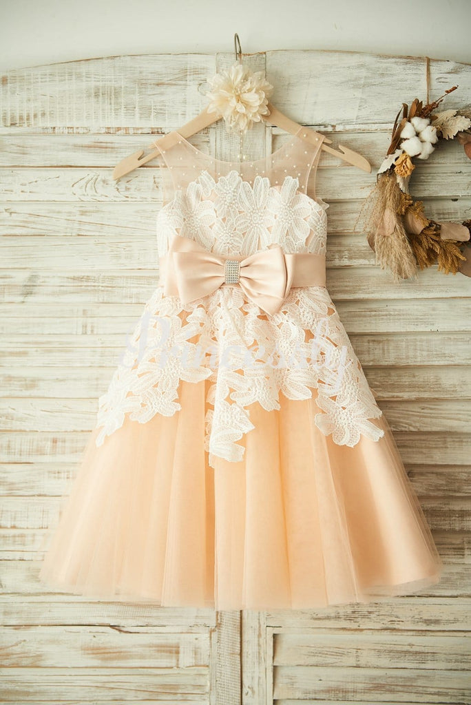 Champagne Tulle Beaded Ivory Lace Wedding Flower Girl Dress