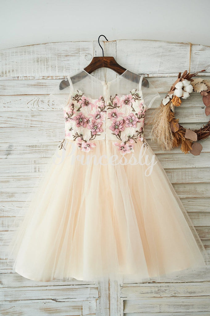 Champagne Tulle Cap Sleeves Wedding Flower Girl Dress with