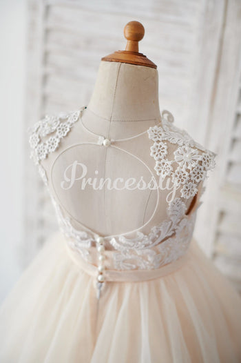 Champagne Tulle Ivory Lace Keyhole Back Wedding Flower Girl