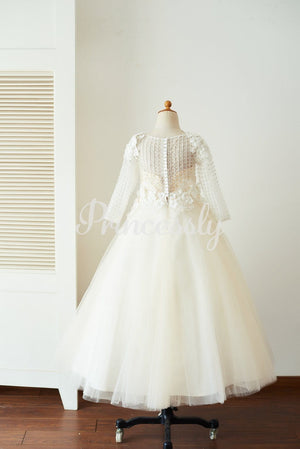 Champagne Tulle Long Sleeves Wedding Party Flower Girl Dress
