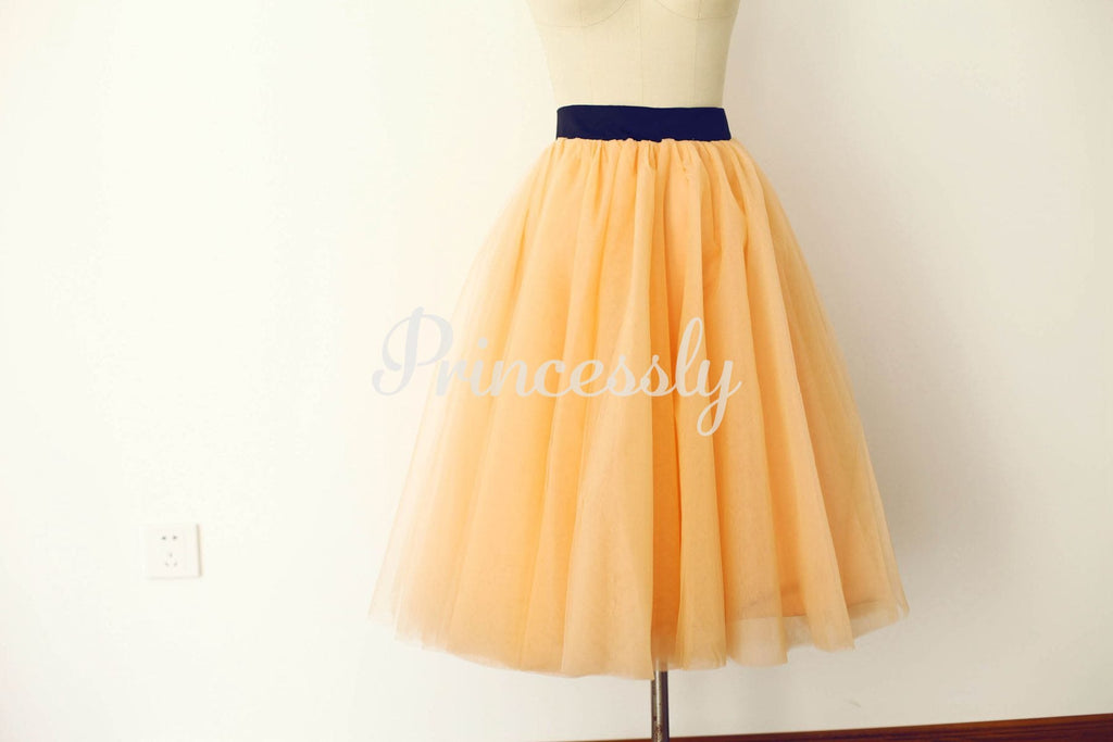 Champagne Tulle Skirt / Short Woman Skirt