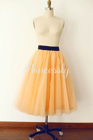 Champagne Tulle Skirt / Short Woman Skirt - XS / Champagne