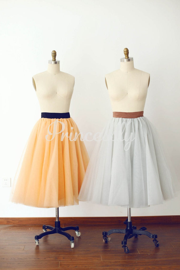 Champagne Tulle Skirt / Short Woman Skirt - XS / Gray