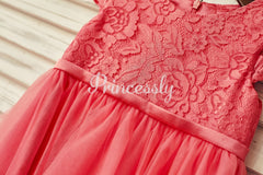 Coral Lace Tulle Cap Sleeve Flower Girl Dress