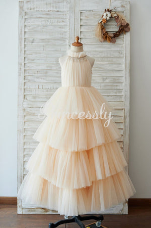 Cupcake Champagne Tulle Halter Neck Floor Length Wedding