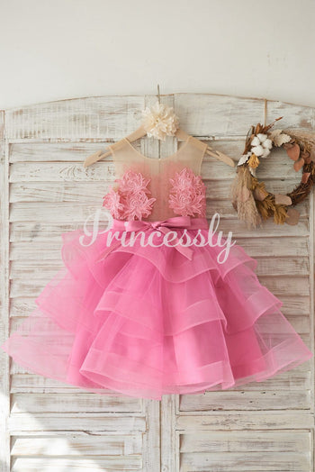 Cupcake Fuchsia Lace Tulle Wedding Flower Girl Dress with