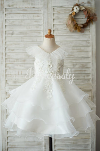 Cupcake V Neck Ivory Lace Organza Wedding Flower Girl Dress