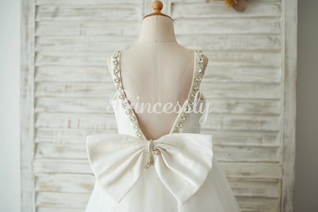 Deep V Back Ivory Lace Tulle Wedding Flower Girl Dress with