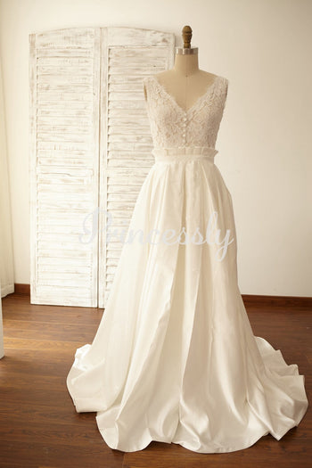 Deep V Back Lace Satin Wedding Dress Bridal Gown