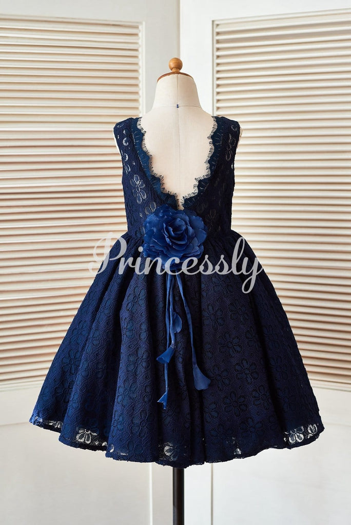 Deep V Back Navy Blue Lace Wedding Flower Girl Dress with