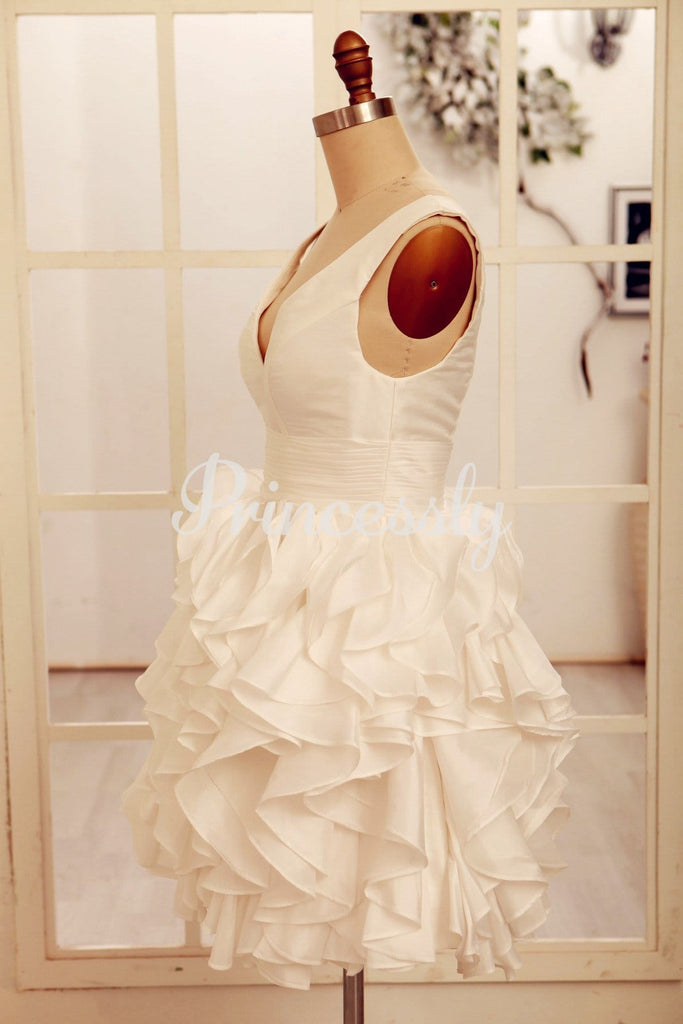 Deep V Neck Ivory Taffeta Ruffle Knee length Short Wedding