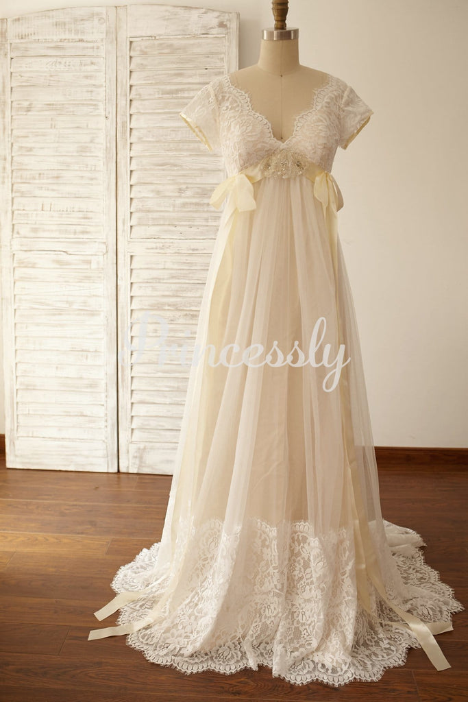 Empire Waist Maternity Cap Sleeves Lace Tulle Wedding Dress