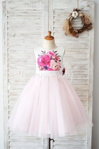 Floral Print Satin Pink Tulle V Back Wedding Flower Girl