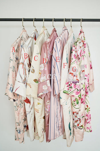 Floral Satin Wedding Bridal Robes Bridesmaid Party Robe