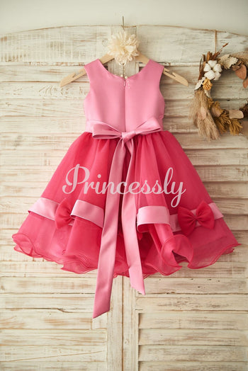 Fuchsia Lace Organza Wedding Flower Girl Dress with Belt /